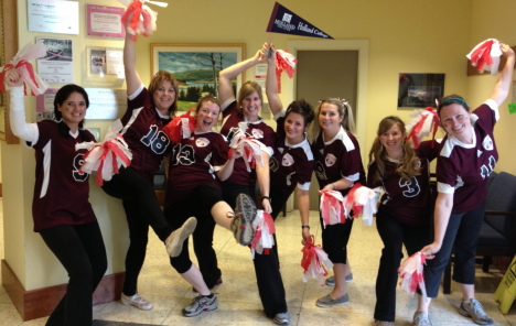 The admissions staff at Holland College in Charlottetown cheer for the Holland Hurricanes in the spirit of Halloween on Oct. 31. Drew Casford photo.