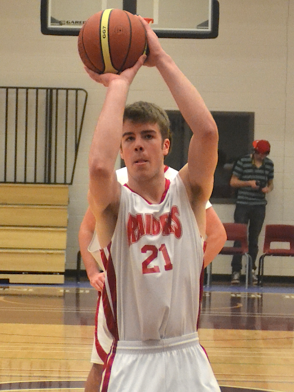 Brayden White of the Charlottetown Rural Raiders shoots from the foul line during a game against the Three Oaks Axemen on Feb. 27. White led all players with 23 points as the Raiders won 89-38. Ally Harris photo.