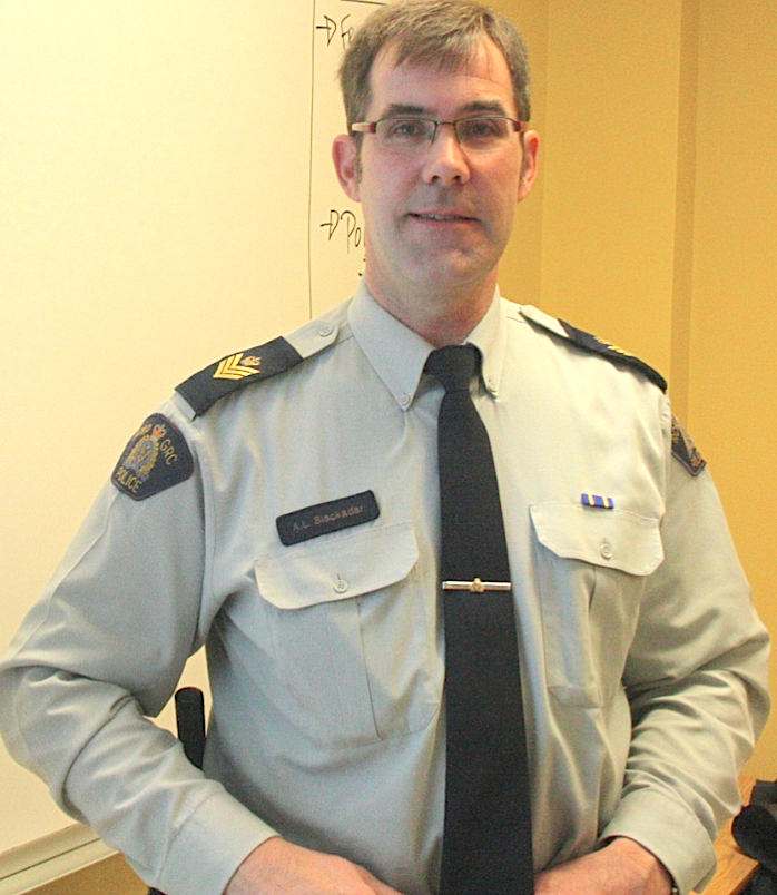 Sergeant Andrew Blackadar explained the relationship between the media and the RCMP to Holland College journalism students on Feb. 24 at the Prince of Wales campus in Charlottetown. James Kelly photo.