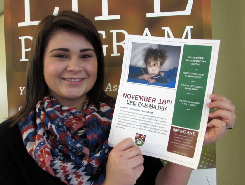 Jacqueline Marquis shows off a poster for UPEI Pyjama Day event happening on Nov. 18. Melissa Heald photo.