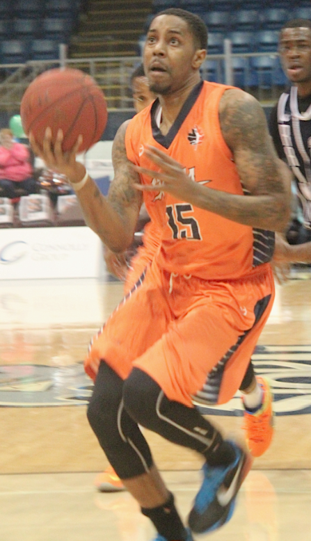 Island Storm basketball player Brandon Robinson drives the lane against the Halifax Rainmen in national basketball league of Canada divisional play Jan. 15, at the Eastlink Centre in Charlottetown. Drake Lowthers photo.