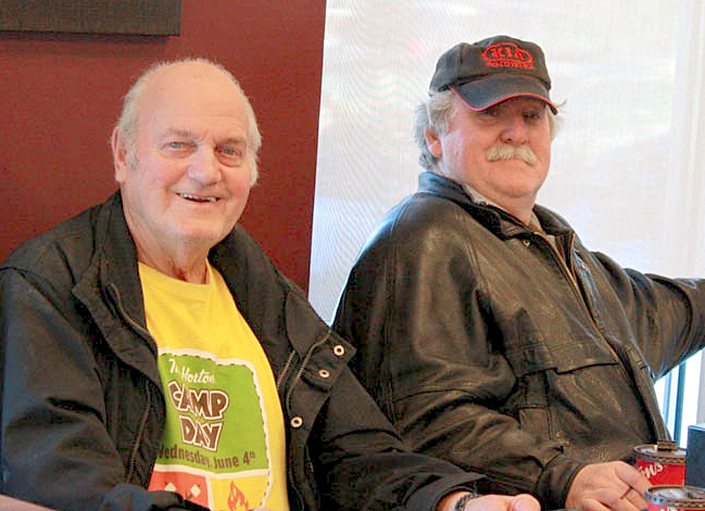 Charles Gibbs, left, and Linus Watts meet for a coffee nearly every day at Tim Hortons on St. Peters Road. Jerry Laird photo.
