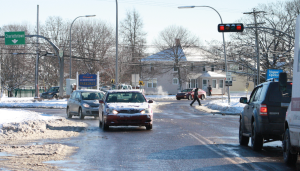 Charlottetown city council will apply to provincial and federal governments for funding to put a roundabout at Vogue Optical corner. Jerry Laird photo.