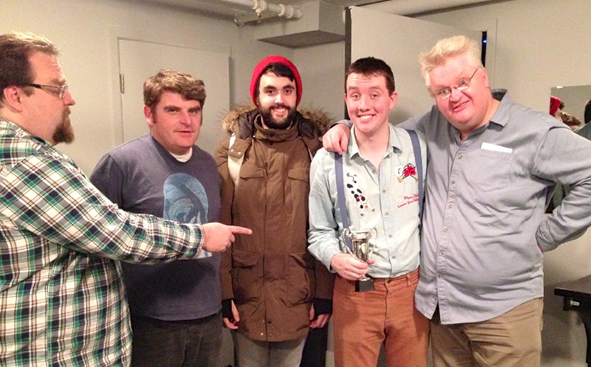 From left, Dylan Miller, Graham Putnam, Ben Hartley, Cameron MacDonald and Rob MacDonald celebrate the winner of the first Top Pop award, Cameron, after the Popalopalots show Jan. 16 at The Guild in Charlottetown. Sydney Clay photo.