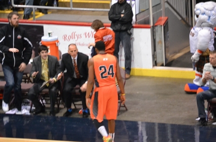 Louis Birdsong walks off the court at the EastLink Centre after the Island Storm's loss to the Halifax Rainmen 108-94. The loss gave the Rainmen the Atlantic Division title. They will face the Moncton Miracles in the playoffs while the Storm will face the Saint John Mill Rats. Ian Beauchesne photo.