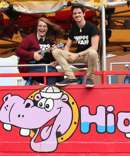 Leah Inman and Noah MacDougall check out the view of the Charlottetown waterfront atop the Harbour Hippo on Sept. 29. Ernesto Carranza photo.