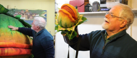 (Right) Producer Rob Thomson pets the newly arrived plant, Audrey, that will be a key part of the plot in the Little Shop of Horrors play at Holland College's Florence Simmons Performance theatrein October. (Left) Thomson holds Audrey as it appears later in the play as a full-grown, man-eating plant.A preview and information night will be held on May 12 at the theatre from 7 – 9 p.m. There will be select readings, music, scenes, plus information about mid-June auditions.Tori Vail photo