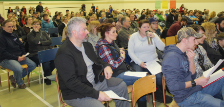 More than 200 people gather in Belfast Consolidated Jan. 12 to discuss plans to oppose the government's decision to close the school. Haley MacLeod photos.